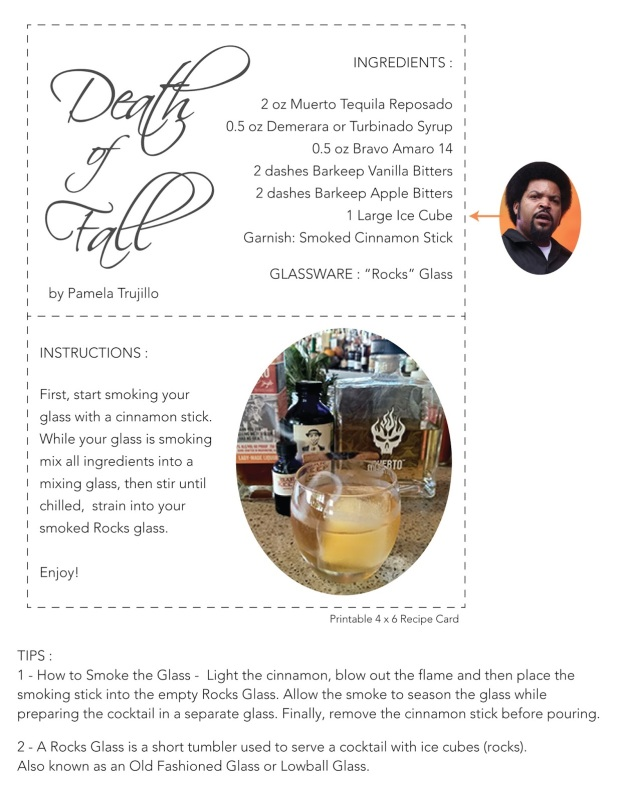 Death of Fall Cocktail Recipe by Pamela Trujillo - Recipe Card Print Out
