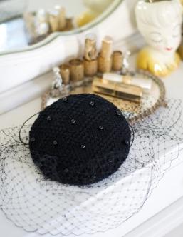 black beaded hat