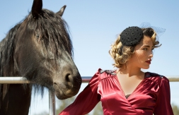black beauty with lady in red