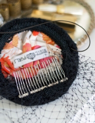 inside of black beaded hat by white purls